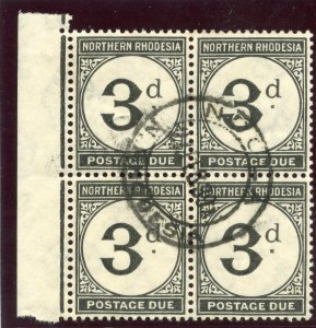 Northern Rhodesia 1929 KGV Postage Due 3d grey-black block VFU. SG D3. Sc J3.