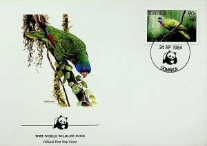 Dominica FDC Parrot WWF 1984
