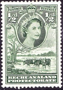 BECHUANALAND PROTECTORATE 1955 QEII ½d Green SG143 MH