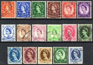 1952-54 Sg 515/531 Wilding Definitive Tudor Watermark Set of 17 Values Good Used