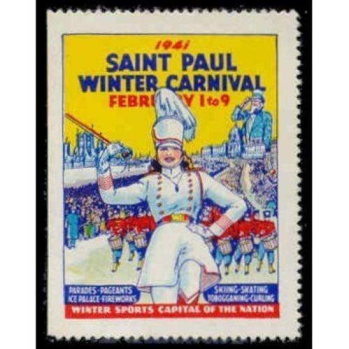 US - Saint Paul MN 1941 Winter Carnival Poster Stamp