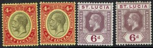 ST LUCIA 1912 KGV 4D AND 6D ALL SHADES WMK MULTI CROWN CA