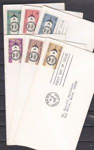 Canal Zone, Scott cat. C42-C47. Seal & Jet Plane issue. 6 First day covers. ^