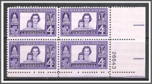 US Plate Block #1152 American Woman MNH