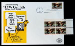 U.S. STAMP Sc #1555 MNH Block of 4 + Large Unaddressed  FDC  ARDEE Cover 1975