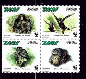 Zaire 1466 MNH 1997 Monkeys Block of 4 W.W.F.