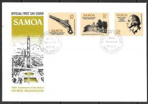 SAMOA 1982 GEORGE WASHINGTON Set Sc 567-569 FDC