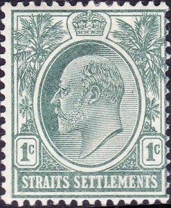 MALAYA STRAITS SETTLEMENTS 1903 KEDV11 1 Cents Grey-Green SG123 MH