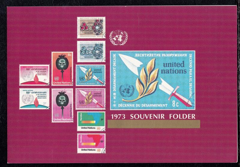 United Nations 1973 Souvenir Folder Complete with Stamps