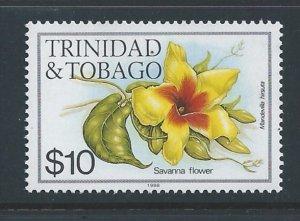 Trinidad & Tobago #407i NH $10 Flower Defin. 1988