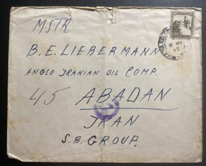 1945 Haifa Palestine Censored Cover To Oil Company Abaadan