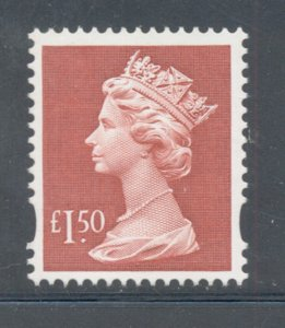 Great Britain Sc MH280 1999 £1.50 red QE II Machin Head stamp mint NH