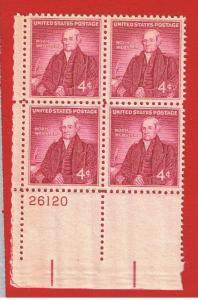 #1121 MNH OG plate block of 4 Webster  Free S/H