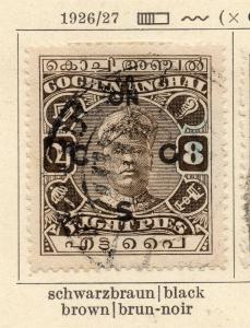 Cochin 1926-27 Early Issue Fine Used 8p. Optd 322459