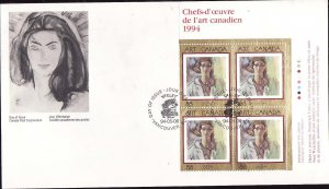 Canada-Sc#1516-stamps on FDC-UR plate block-Canadian Art-1994-