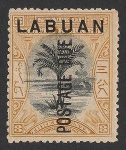 LABUAN : 1901 'Postage Due' on Tree 3c black & ochre, perf 13½-14.