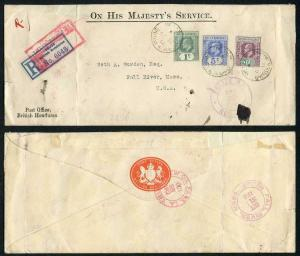 British Honduras KEVII 1c 5c and SG87 10c on Registered Cover to the USA