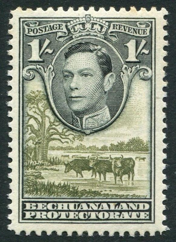 BECHUANALAND-1952 1/- Grey-Black & Olive-Green Sg 125a UNMOUNTED MINT V21231
