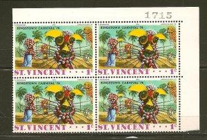 St Vincent 457 Kingston Carnival '76 Block of 4 MNH