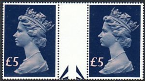 GB QE Queen Elizabeth Machins £5 gutter pair Sc# MH176 CV $27.00