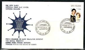 Turkish Rep. of Cyprus, Scott cat. 113. Diana`s Royal Wedding. First day cover.^
