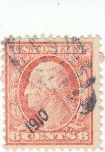 Scott #336 - 6c Red Orange - Washington - Used - SCV - $6.50