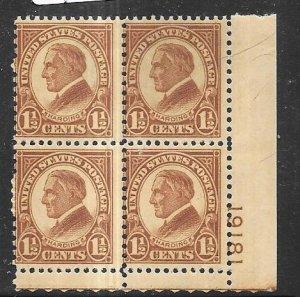 US#633 11/2c   Harding  plate block of 4  (MNH) CV $115.00