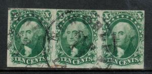USA #14 Very Fine Used Strip Of Three Type II **With Certificate**