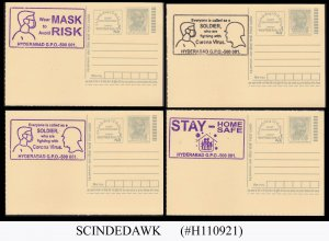 INDIA 2021 6 POSTCARDS WITH PANDEMIC HYDERABAD CANCL. IN 2 COLORS
