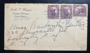 1928 Managua Nicaragua Cover To Rochester NY USA Overprinted Stamp