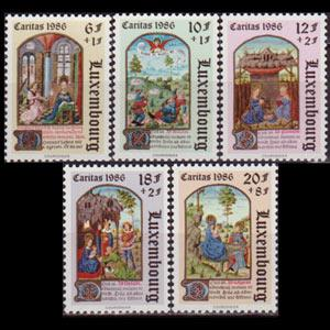 LUXEMBOURG 1986 - Scott# B357-61 Book of Hours Set of 5 NH