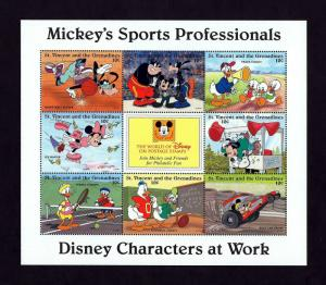 ST VINCENT - 1996 - DISNEY - MICKEY - SPORTS PROFESSIONALS - MINT - MNH SHEET!