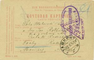 Russia P.O.W. Free Mail 1917 Tashkent P.O.W. Postcard to Prague, Czech Republ...