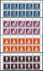Costa Rica RA7-RA10 blocks/10,MNH.Michel Zw7-10. Tax stamps 1960.Renoir,Zuniga.