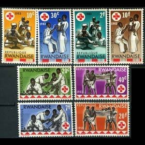 Rwanda MNH 44-51 Red Cross Health 1965