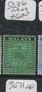 MALAYA NEGRI SEMBILAN  (P2206B) ARMS  50C  SG 36    MOG