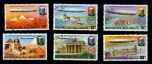 Madagascar 1976 Graf Zeppelin 75th Anniversary Aviation Set of 6 Stamps - Used