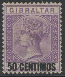 GIBRALTAR SG20a 1889 50c on 6d BRIGHT LILAC SHORT 5 AT FOOT MTD MINT
