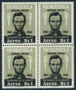 Venezuela C930 block/4,MNH.Michel 1667. Abraham Lincoln,1966.