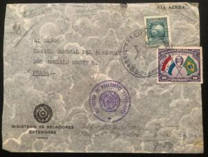 1939 Paraguay Diplomatic Cover To The Consulate In Prague Czechoslovakia