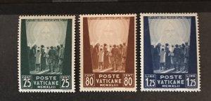 Vatican City 1942 #77-9, Unused/MH, CV $.75