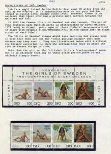 1972 The girls of Sweden Poster Stamp Strip of 4 Regular & Olympic Overprint ISO