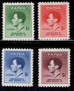 Papua New Guinea, Scott 118-121  MH* 1937 KGVI set
