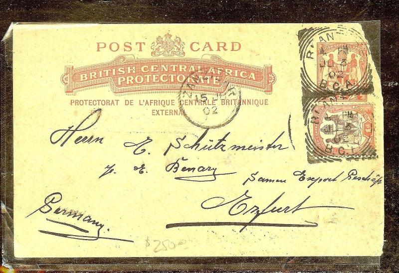 BRITISH CENTRAL AFRICA (P1210B) 1D  PSC +1D ARMS PSC VIA ZANZIBAR TO GERMANY