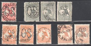 Australia ---PERFIN--- #2, #3 x3, #6x3 and #7 x2 USED Collection
