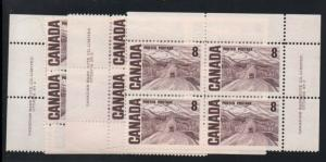 Canada Sc 461 1967 8 C Alaska Hwy matched set of 4 Plate Blocks #2 mint NH