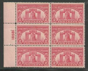 #627 Liberty Bell Plate Block Mint LH #18581 left