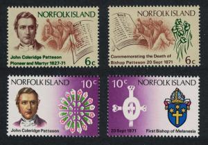 Norfolk Death Centenary of Bishop Patteson 4v SG#121-124 SC#144-147