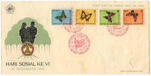 Indonesia - 1963 Butterflies Semi-Postals on First Day Cover