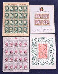 Liechtenstein #369//703 Collection MNH M/S CV$649.00 1962-80 Sheets of 4 and ...